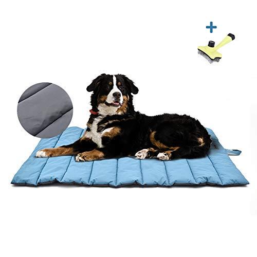 XIAPIA wasserdichte Hundematte für Outdoor mit Bürste, Waschbares Hundebett, Antistatik, Hygienisch, Faltbar, Große Reisedecke für Haustier 110 x 68 cm (Blau/Grau)
