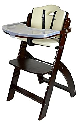 Abiie Beyond Wooden High Chair with Tray. The Perfect Seating Highchair Solution for Your Child As Toddler's or a Dining Chair (6 Months up to 250 Lb). (Mahogany Wood - Cream Cushion)