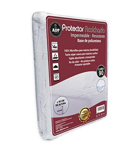 ADP Home - Protector de Colchón Acolchado Impermeable y Resistente con Base de Poliuretano, 100% Microfibra de Tacto Pluma Extra Suave y Transpirable - Medidas Completas (Cama de 90)