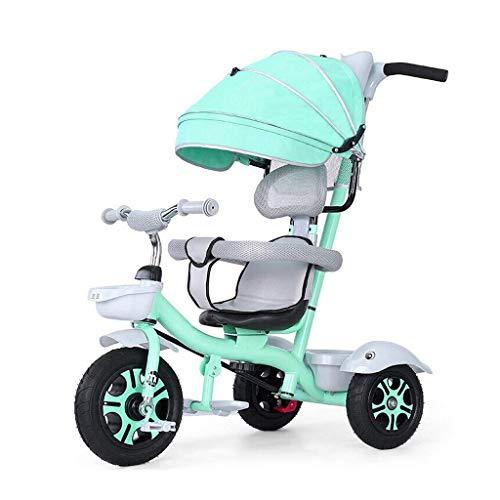 Triciclo Trike Niño al aire libre Triciclos, 1-6 años Niñas Niños 4 en 1 con manija de empuje triciclos, niños Parasol Trike Con chapado varilla de empuje, 4 colores (Color: Rojo) ( Color : Green )