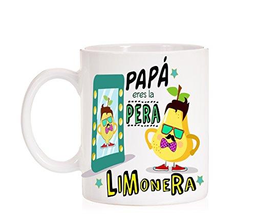 Taza Papá Eres la Pera limonera. Taza Regalo para Padres Muy Divertida para el Dia del Padre