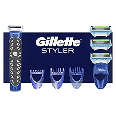 Gillette Fusion Styler 3-in-1 Trimmer - Includes 3 Interchangeable Combs + 3 Razor Blades Refills