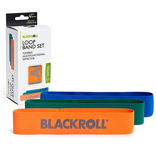BLACKROLL® LOOP BAND SET - Fitnessband-Set. Trainingsbänder/Gymnastikbänder/Sportbänder in 3 Widerstandstufen für eine stabile Muskulatur (orange - leicht, grün - mittel, blau - stark)
