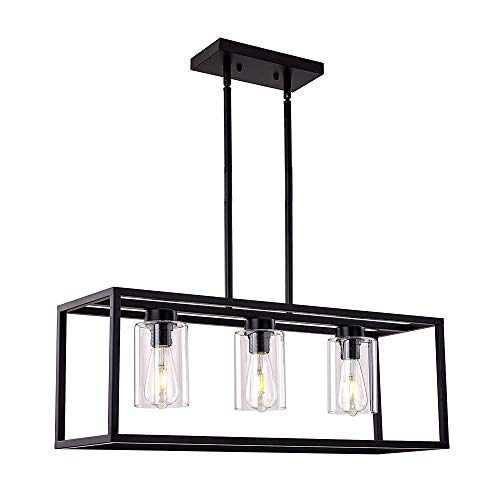 XILICON Dining Room Lighting Fixture Hanging Farmhouse Black 3 Light Modern Pendant Lighting Contemporary Chandeliers with Glass Shade for Living Dining Room Bedroom Kitchen Island