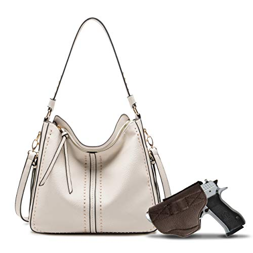 Beige Large Concealed Carry Hobo Purse for Women Studded Leather Crossbody Shoulder Bag With Gun Holster - Conceal Weapon B2B-MWC-G1001BG