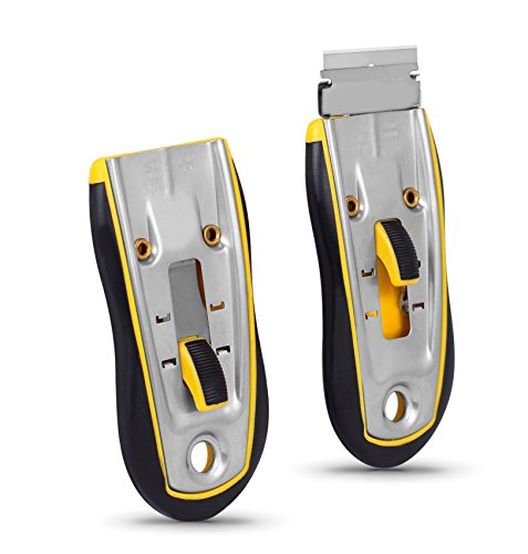 Internet's Best Premium Glass Scraper - Yellow - Small - Utility Knife for Window Tint Car Sticker Removal - Cutting Slicing Scraping Blade