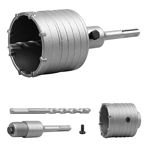 EXLECO Juego de brocas de 82 mm de diámetro con adaptador SDS Plus de 110 mm para mampostería y piedra caliza.