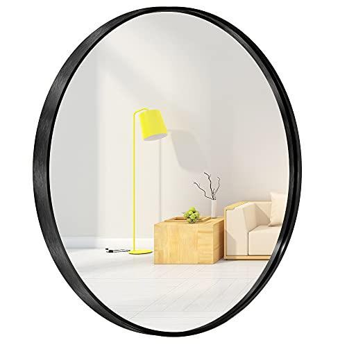 Espejo circular de pared redondo para entradas, baños, salas de estar, espejo redondo de metal para pared (negro, 60 cm)