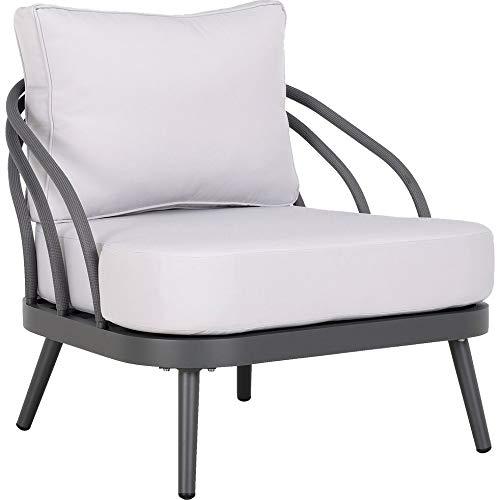 Meubletmoi ZED 5529 - Sillón de jardín con cable de aluminio gris y cojines blancos