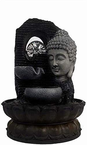 Dpliu Fuente Interiör prydnadsföremål en Cascada de la Estatua de Buda con una Bola de Cristal de Colores Ideal para Decoraciones caseras cumpleantilde; os Ideales