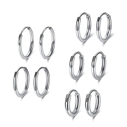 PiercingJak - 5 pares de pendientes de aro de acero inoxidable para cartílago de hombre o mujer, aro redondo de 8 a 16 mm, plata, oro, negro, rosa y oro, Acero inoxidable, no.,