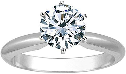 1/2 Carat 14K White Gold 0.50cts Solitaire Natural Diamond Engagement Ring Band Wedding Ring Certified Hallmarked Anniversary Ring for Women Gift for Her (Color HI, Clarity I1/I2)