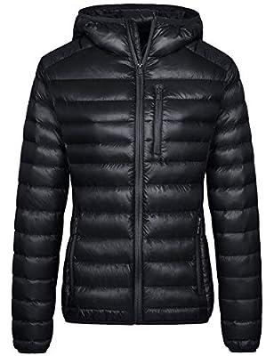 Wantdo Women's Packable Ultra Light Short Down Jacket Puffer Coat Black Medium