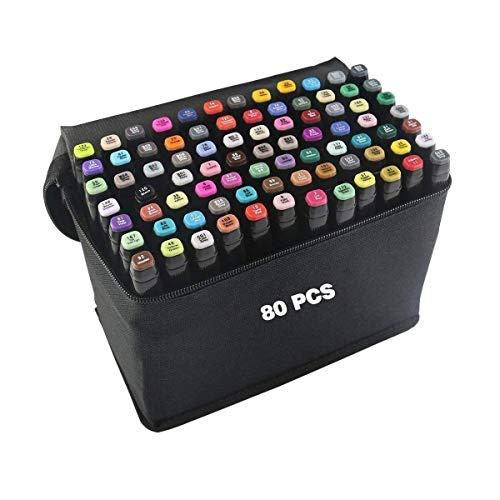 Pengpeng - 80 Colori Pennarelli per Disegno,Twin Pennarello Artista Necessario Marcatori Doppia Punta Graphic Marker per Pittura, (80 marker pens)