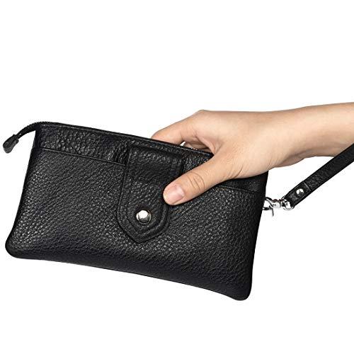 GUOQING Funda de piel auténtica para Samsung Galaxy Note 10+, Note 10 Lite, S10 Lite, S10, S10 Plus, J4+, S9+, S8+, S7edge+, bolso de mano, cartera de embragues (color negro).