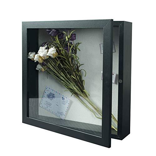 Egleson Marco de fotos 3D profundo de 28 x 28 cm, color negro, para rellenar con puerta magnética, marco de objetos, decoración para regalo de Navidad o cumpleaños