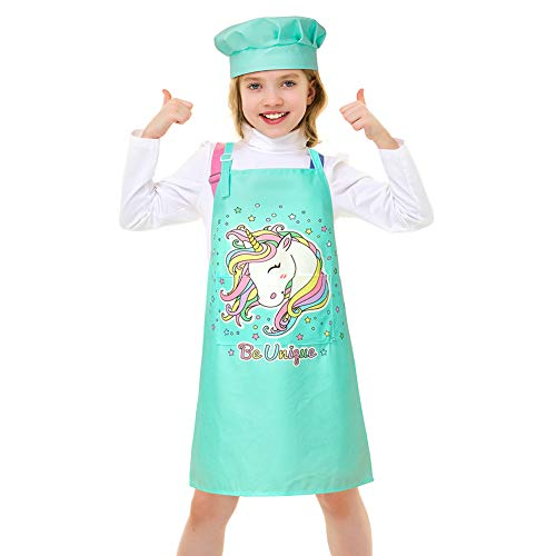 Bienbee Girls Apron Chef Hat Unicorn Aprons with Adjustable Neck Strap Pockets, Kids Apron for Baking,Cooking,Gardening,Party,3-7 Years,Light Green