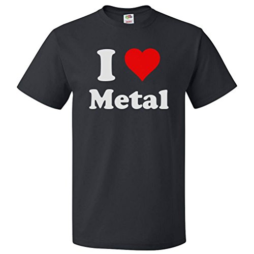 ShirtScope I Love Metal T Shirt I Heart Metal Medium Black