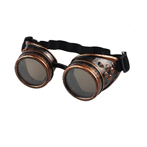 Amison Spezial- Jahrgang Stil Steampunk Brille Schweißen Punk Brille Cosplay (Rot)