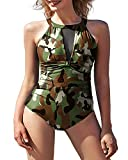 I2crazy One Piece Monokini Swimsuits Tummy Control Bathing Suits-M, Camouflage