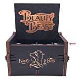 Beauty and The Beast Music Box Hand Crank Musical Box Carved Wooden,Play (Beauty and The Beast Theme, Black)