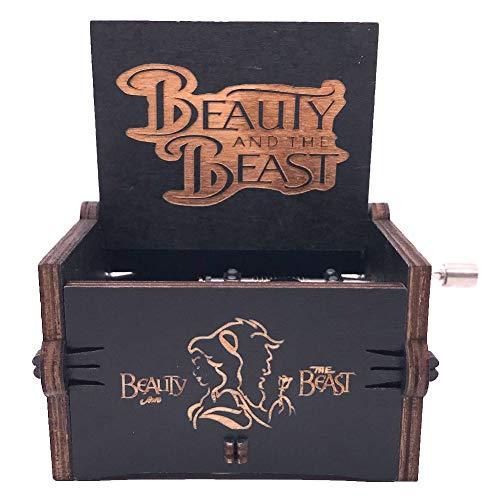 Die Schöne und das Biest Spieluhr mit Handkurbel, geschnitztes Holz, zum Spielen (Die Schöne und das Biest), Schwarz