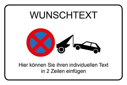Wunschtext - Parken verboten | Querformat 300 x 200 mm - Direktdruck auf 4 mm starker AluDibond Verbundplatte - inkl. Bohrschablone