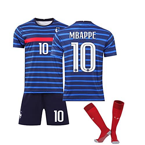 SiegenPro Garçon Ensemble de T-Shirt et Short Maillot de Football Enfant France 2 Étoiles Jersey Equipe de France de Football Shirt FFF Enfant Garçon avec Chaussettes (Mbappe10sox, 8 Ans)