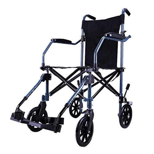 Rollstühle Aluminiumlegierungsrollstuhl Zusammenklappbarer Tragbarer Reiserollstuhl Multifunktionswagen Tragbare Ultraleichte Ladegewicht 140kg (Color : Black, Size : 55x93x97cm)