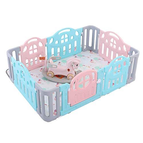 Relaxbx Baby Omheining Kinderen Activiteitscentrum Veiligheid Speeltuin Kunststof Panel Met Schommelende Paard Draagbare Thuis Outdoor Beschermende Omheining
