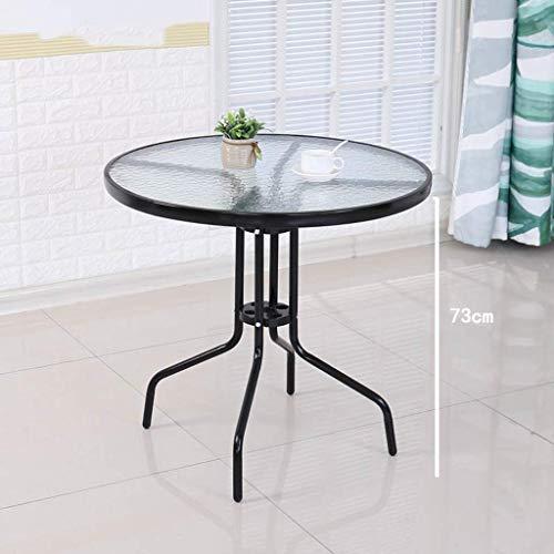 ZXL Gehard glas ronde tafel en stoelOutdoor combinatie kleine opklapbare tafel moderne minimalistische smeedijzeren eettafel casual salontafel zwart (grootte: 90cmx73cm)