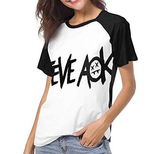 JEWold Steve Aoki Women's Baseball Short Sleeves Black Raglan T-Shirts Tee T Shirts for Women Frauen Kurzarm T-Shirts