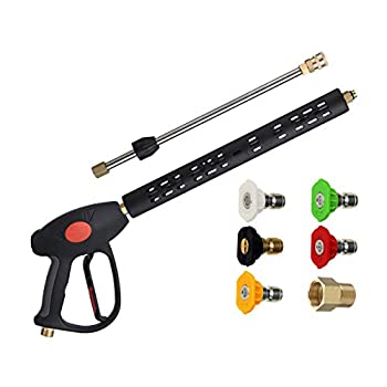 M MINGLE Replacement Pressure Washer Gun with Extension Wand M22 15mm or M22 14mm Fitting 5 Nozzle Tips 40 Inch 4000 PSI