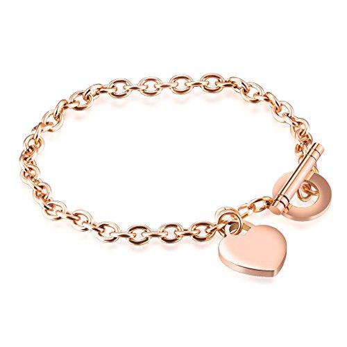 bigsoho Edelstahl IP Rosegold Armband Armkette Panzerkette Damen Mädchen Herz Kreis Design Schmuck