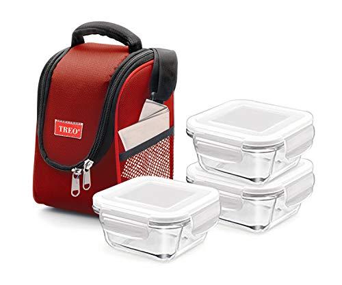 Treo Isolierte Lunchtasche mit 3 auslaufsicheren Glasbehältern für Mahlzeiten, BPA-frei, 30 oz, Rot
