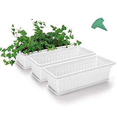GROWNEER 3 Packs 17 Inches White Flower Window Box Plastic Vegetable Planters with 15 Pcs Plant Labels, for Windowsill, Patio, Garden, Home Décor, Porch