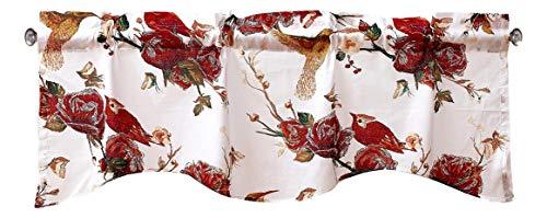 Tache Cotton White Burgundy Sheer Scalloped Window Treatment Curtain Topper Hummingbirds Rose Garden 18x52 Valance