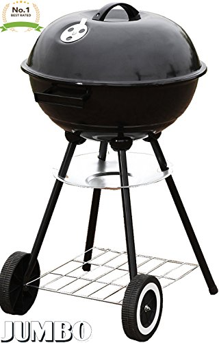 "Unique Imports #1 Jumbo Original Kettle 22"" Charcoal Grill Outdoor Portable BBQ Grill Backyard Cooking Stainless Steel for Standing & Grilling Steaks, Burgers, Backyard Pitmaster & Tailgating"
