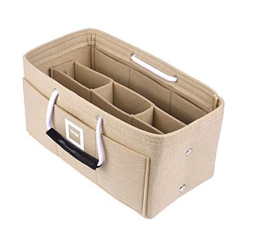FFITIN Taschenorganizer Filz – Handtaschenorganizer mit Tragegriffen | Bag in Bag | XL Handtaschenordner (Maldives Sand Beige, XL - X - Large (33 x 16 x 16 cm))