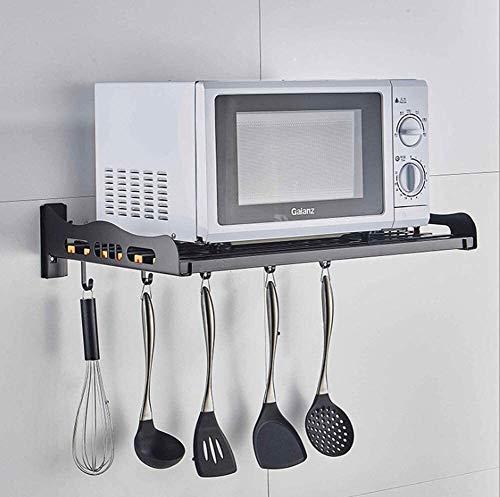 Multifunción Cocina Microondas bastidor del soporte del horno de microondas de montaje en pared estante de acero inoxidable Capacidad de carga del Fuerte Negro LINGZHIGAN (Size : 50x35cm)