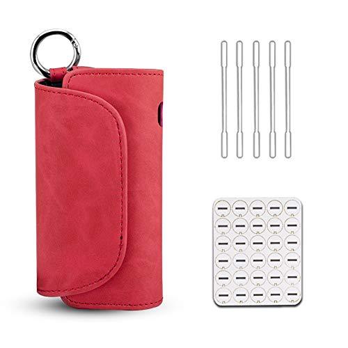 E zigarette Tasche für IQOS 3 Heets, TragbarePu Leder Zigarettenetui Mit Cleaning Sticks und Oel-Absorptionskissen (Rot)
