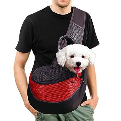 MaoXinTek Pet Sling Carrier Bag, Safe Dog Slings Backpack for Small Puppy Cat 2.5kg/5.5LB Breathable Mesh Travel Carrier Pouch, Shoulder Cross body Bag Hand Free for Outdoor Walking Subway 1