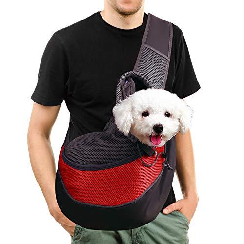 Transportín para Perros, Bolsa Bandolera de Transporte para Llevar Perrito Gatito Mascota Pequeño Correa de Hombro Acolchada Ajustable Tote Bag con Bolsillo Delantero Viajes Puppy Carrier 2.5kg/5.5LB