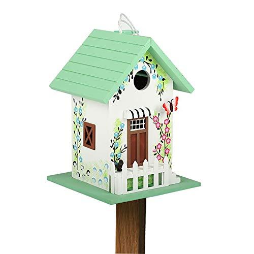 HWLL Comedero para pájaros Hermoso Comedero para Pájaros Tipo Pajarera con Poste de Tierra de Inserción, Caja de Comida para Pájaros Verde Claro con Techo Inclinado para Decoración de Patio Trasero