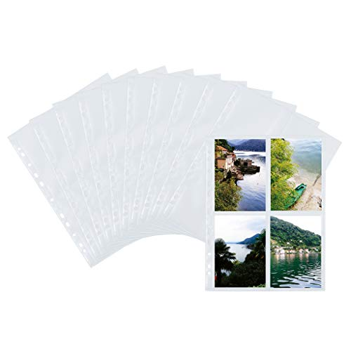 HERMA 7585 Fotophan Fotosichthüllen weiß (10 x 15 cm hoch, 10 Hüllen, Folie) mit Beschriftungsetiketten und Eurolochung für Ordner und Ringbücher, beidseitig bestückbare Fotohüllen