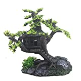 MJSHA Acuario Pecera Decoración de paisajismo Casa de árbol, Casa de Madera Castillo de árbol, Adornos de Resina, para Betta Dormir Descanso Ocultar Jugar Raza