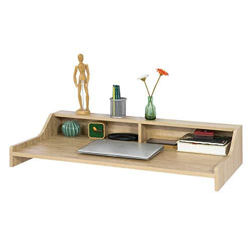 SoBuy® FWT47-N Table murale Table de cuisine Bureau informatique avec 2 niches de rangement ouverts