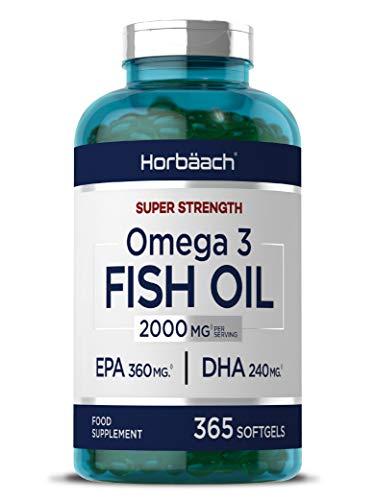 Omega 3 Fish Oil 2000mg | 365 Softgel Capsules | 6 Month Supply! Fatty Acids EPA & DHA | Supports Heart, Brain & Eye Health | Non-GMO, Gluten Free | by Horbaach