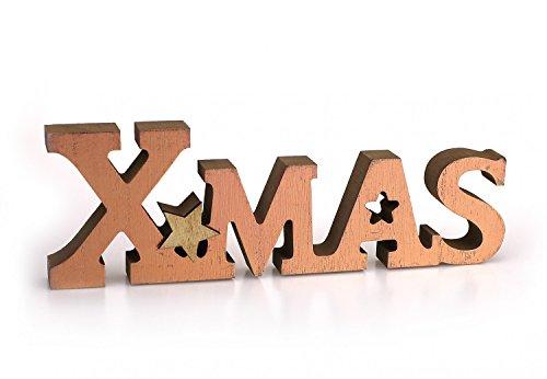Deko Aufsteller Schriftzug X-Mas 26 x 8,5 cm, Holz natur Front kupfer, Dekofigur Holzaufsteller Dekoschild Holzdeko Winterdeko Weihnachtsdeko Advent Winter