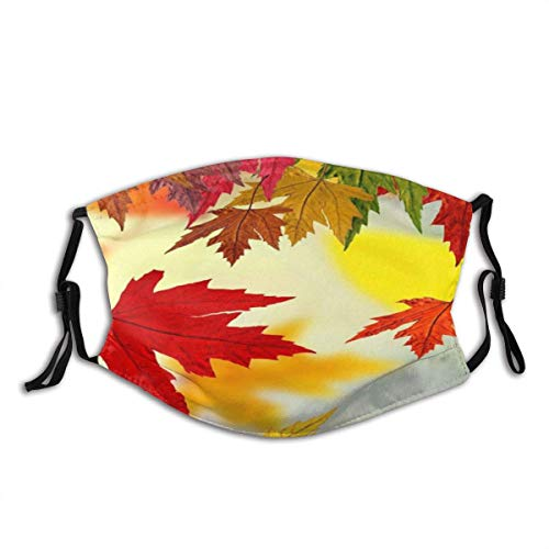 Dempsey Malan Autumn Golden Maple Fall Leaves Seasonal Scenery Unisex Washable and Reusable Cotton Warm Face Protection for Outdoor